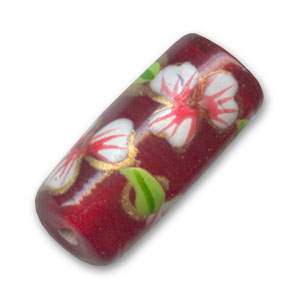 Tube flower motif 20x9mm Red x1