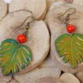 Philodendron leaf earrings polymer clay and pastels