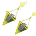 Triangles earrings with crystal points and square beads