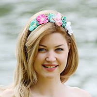 Flower headband in fabric and suede lace
