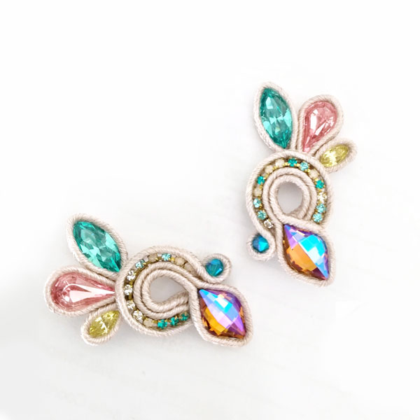 26622db76 Bright Wings earrings in moonlight soutache and Swarovski crystals ...