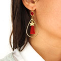 Swarovski cabochon earrings Scarlet Lotus