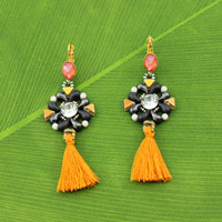 Zoliduo® Khéops® and Minos® earrings with tassel and Swarovski cabochons