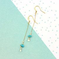 Turquoise Miyuki Chain Earrings and Small Tassel