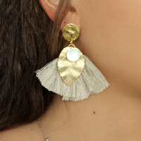 DIY tassel earrings and golden leaf
