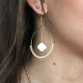 Bristle stitch weaving earrings with miyuki beads and mother-of-pearl