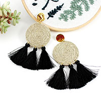Earrings discs in linen thread and black pompons
