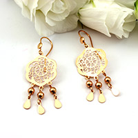 Rose gold print earrings drops
