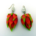 Pitaya Dragon Fruit Polymer Clay Earrings