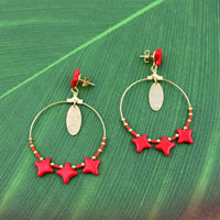 Coral and Gold Star Beads Hoop Earrings