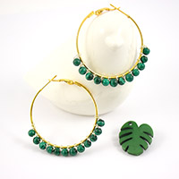 Creoles with malachite beads