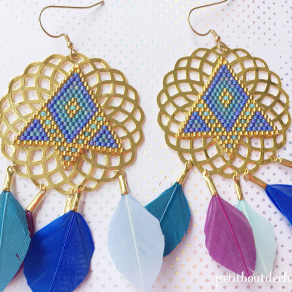 DIY earrings prints, miyuki weaving and feathers