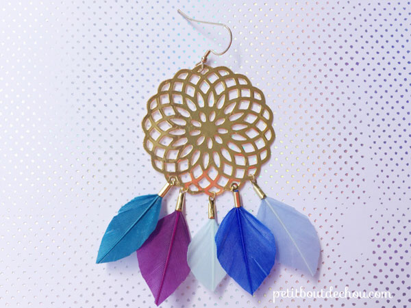 Earrings with prints, feathers and miyuki weaving