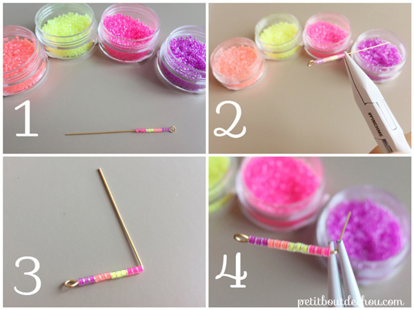 DIY creoles with chain and miyuki pearls