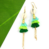 Triple jungle tassel earrings
