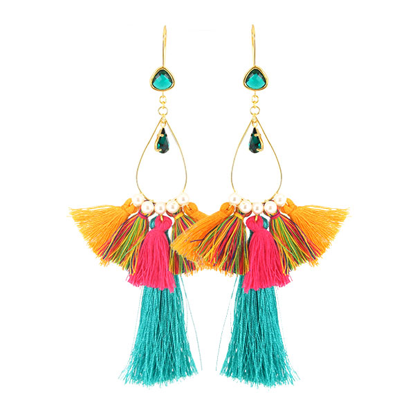 Multicolor pompon earrings and pearls