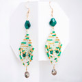 Bohemian mint emerald baroque earrings with Miyuki pearls and Swarovski crystals