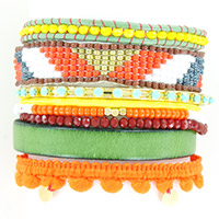 Multi row tropical bracelet, orange and green leather lace