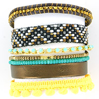 Multi row tropical bracelet, gold and bronze leather lace
