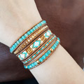 Trendy wrap bracelet with agate gemstones and Miyuki Delicas and Bugles Twist pearls