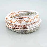 Tuto Leather Wrap Bracelet with Miyuki Beads and Gemstones