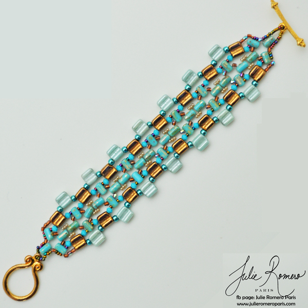 Diy bracelet perles en verre groovy tiles rullas et rocailles miyu perles co - Bracelet perle et ruban ...