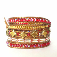 Trendy Red Wrap Bracelet 5 Rounds with Star Beads and Miyuki Delicas Glass Beads
