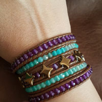 Wrap bracelet 5 rounds with Star Beads glass beads and gemstones