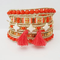 DIY coral wrap bracelet 5 strands with glass beads Star beads and faceted flat round beads