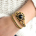 Black and Gold Diamonduo Wrap Cuff with Swarovski Button