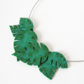 Philodendron leaves necklace in polymer clay and Pinata ink
