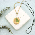 Necklace saltire easy golden and green philodendron leaf