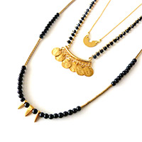 Necklace 3 rows black and gold