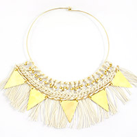 Macrame necklace with golden triangle spacers