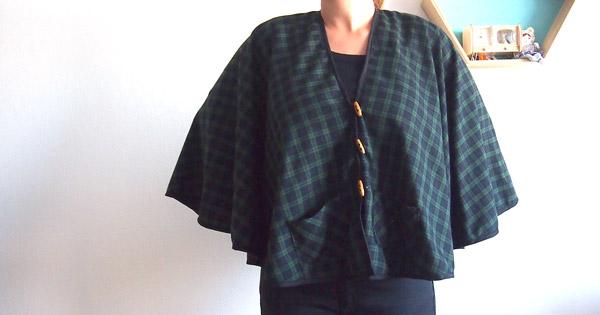 Diy Easy Sewing Coat Cloak In Plaid Tartan Fabric Perles Co