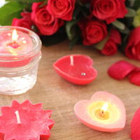 Floating candles with rhinestones and glitter