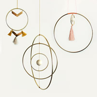 DIY Deco Mobile Globe Galaxy and Scandinave wall hangings with brass circles