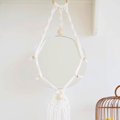 DIY mirror hanging macramé and trendy wooden beads