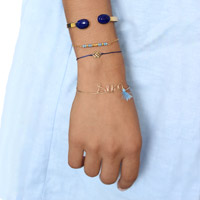 Stacking Micro Spacers name bracelet gold filled and Lapis Lazuli Bangle