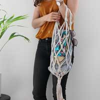 Macrame DIY net bag with trapilho yarn