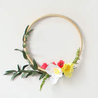 Crepe paper flower wreath and bamboo circle