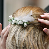 DIY Bridal Pearls Swarovski Pearl Feather and Flower Bridal Comb