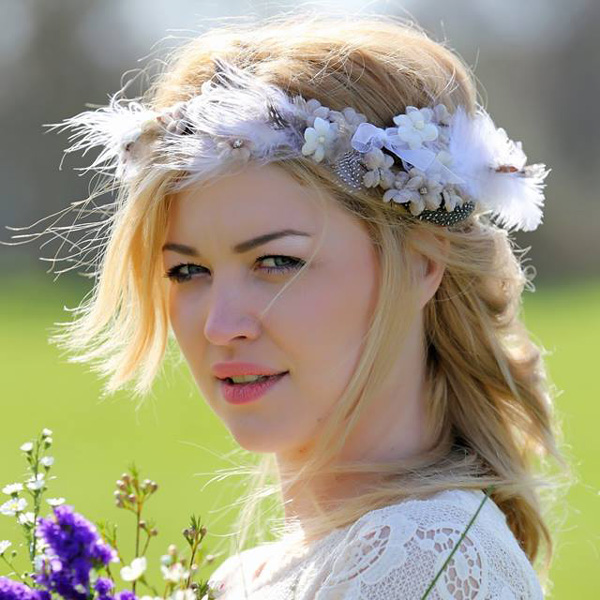 Bohemian headband of flowers and feathers on soft wire and ribbons ... 4f61e99aac9