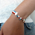 Blue white red polymer clay bracelet