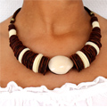 Necklace with slice in Polymer clay CERNIT and Tagua seeds