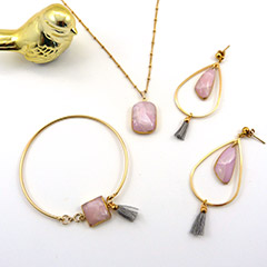 Rose quartz imitation polymer jewelry set