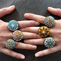 Mandala motif rings with stamp and ink