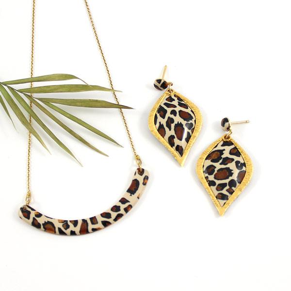 6edc90b113cf0 Fashion jewelry set Fimo leopard pattern - Perles & Co