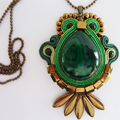 Soutache Quetzal pendant and Pear Malachite cabochon
