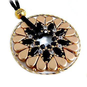 98c6e91fd5655 Pendant Coeur Glass beads Amos®, IOS® de Puca et Swarovski crystal Mesh